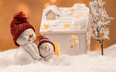 snowmen, winter, toys snowmen, house, cute toys, winter concepts