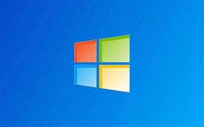 Windows logo on blue background, Windows logo, Windows 10, Windows emblem, blue background