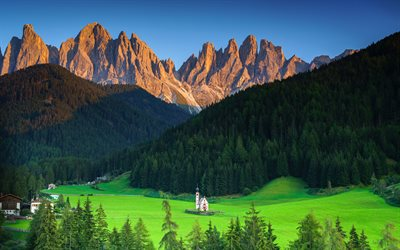 4k, Italy, Alps, summer, mountains, church, valley, South Tyrol, Europe, beautiful nature