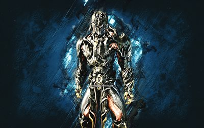 Atlas Prime, Warframe, blue stone background, Warframe characters, Atlas Prime Warframe, Atlas Prime skin, Atlas Prime build, creative art