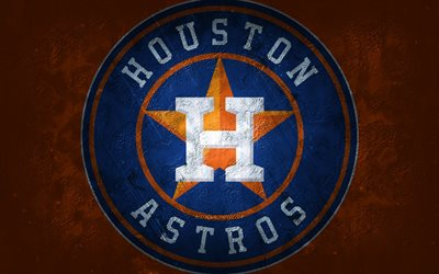 houston astros, amerikanisches baseballteam, orange steinhintergrund, houston astros-logo, grunge-kunst, mlb, baseball, usa, houston astros-emblem