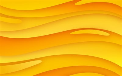 yellow abstract waves, 4k, waves textures, background with waves, yellow wavy background, creative, waves