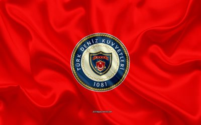 Seal of the Turkish Navy, 4k, red silk texture, Turkish Navy emblem, Turkey, Turkish Navy logo, Turkish Armed Forces