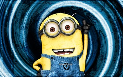 Stuart, blue grunge background, 4K, Minions The Rise of Gru, vortex, Despicable Me, Minions, Stuart Minions