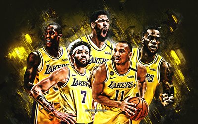 Los Angeles Lakers, NBA, American Basketball Club, Los Angeles Lakers joueurs, basket-ball, USA, LeBron James, Anthony Davis, Avery Bradley, JaVale McGee, fond de pierre jaune