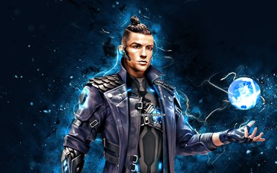 Cristiano Ronaldo Free Fire, 4k, fan art, 2021 games, Chrono, Free Fire Battlegrounds, Garena Free Fire characters, Chrono Skin, blue neon lights, Garena Free Fire, Chrono Free Fire