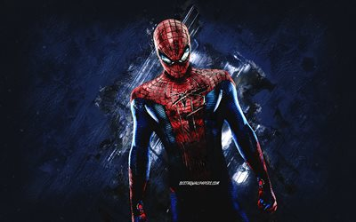 Spider-Man, superhero, blue stone background, Spider-Man character, creative art