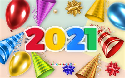 2021 New Year, 3d multicolored letters, 2021 concepts, holiday background with balloons, 2021 holiday background