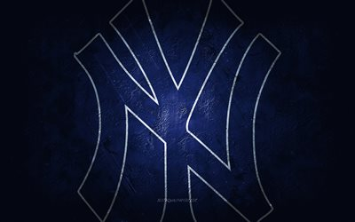 New York Yankees, time de beisebol americano, fundo de pedra azul, logotipo do New York Yankees, arte do grunge, MLB, beisebol, EUA, emblema do New York Yankees