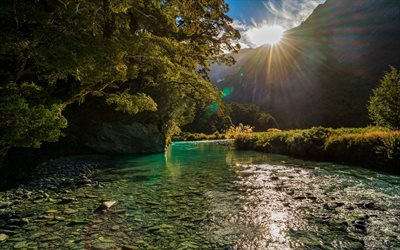 Mount Aspiring National Park, 4k, river, mountains, sun rays, Wanaka, South Island, New Zealand, beautiul nature, evening landscapes