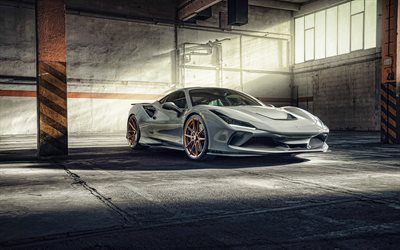 2021, Novitec Ferrari F8 Tributo, 4k, front view, exterior, gray sports coupe, new gray F8 Tributo, italian supercars, Ferrari