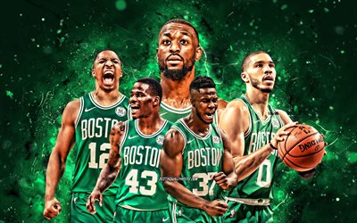 Jayson Tatum, Javonte Green, Grant Williams, Semi Ojeleye, Kemba Walker, 4k, Boston Celtics, basquete, NBA, time do Boston Celtics, luzes verdes de néon, estrelas do basquete