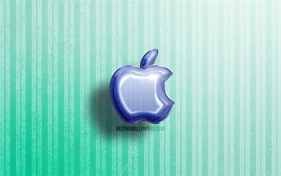 4k, Apple 3D logo, blue realistic balloons, brands, Apple logo, blue wooden backgrounds, Apple