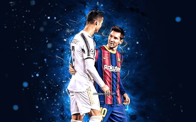 Cristiano Ronaldo and Lionel Messi, 4k, blue neon lights, football stars, soccer, CR7, Lionel Messi, Cristiano Ronaldo