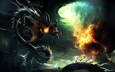dragon, monster, fight, phoenix