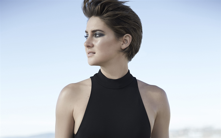 Shailene Woodley, American actress, fashion model, black dress, make-up, beautiful young woman