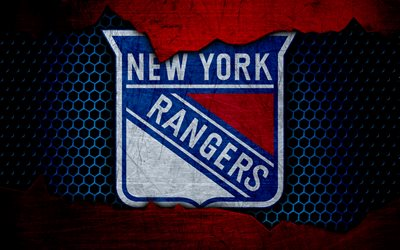 New York Rangers, 4k, logo, NHL, hockey, Eastern Conference, USA, grunge, NY Rangers, metal texture, Metropolitan Division