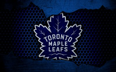 Toronto Maple Leafs, 4k, logo, NHL, hockey, Eastern Conference, USA, grunge, metal texture, Atlantic Division