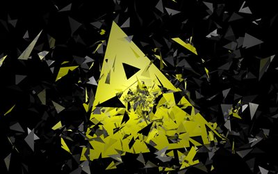 4k, pyramids, black and yellow, triangles, material design, geometric shapes, creative, strips, geometry, creative background