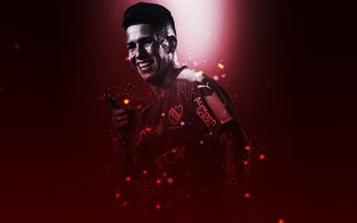 Maximiliano Meza, 4k, creative art, Independiente, Argentine footballer, lighting effects, Argentina, football players, Club Atletico Independiente