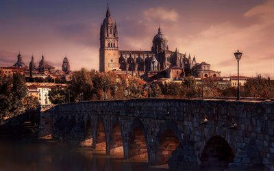 Alba de Tormes, ancient Spanish city, river Tormes, evening, sunset, landmark, Spain