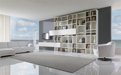 living room, stylish modern interior design, minimalism, hi-tech, modern interior