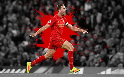 Jordan Henderson, 4k, art, Liverpool FC, English football player, splashes of paint, grunge art, creative art, Premier League, England, football