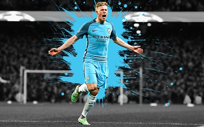 Kevin De Bruyne, 4k, art, Manchester City FC, midfielder, English football player, splashes of paint, grunge art, creative art, Premier League, England, football