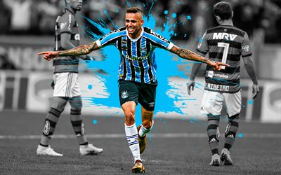 Luan Vieira, 4k, art, Gremio FC, forward, Brazilian football player, blue splashes of paint, grunge art, creative art, Serie A, Brazil, football, Luan Guilherme de Jesus Vieira