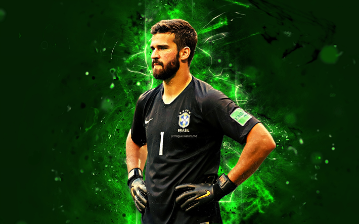 Download Wallpapers Alisson Becker, Fan Art, Goalkeeper
