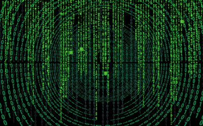 4k, matrix, digits, creative, green background