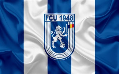 CS Universitatea Craiova FC, 4k, Rumänska football club, Universitatea logotyp, silk flag, Rumänska Liga 1, Craiova, Rumänien, fotboll