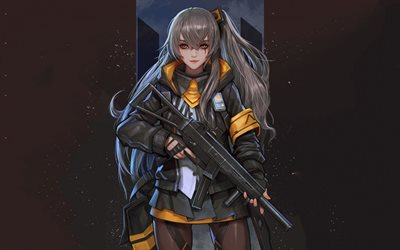 Girls Frontline, Japanese anime game, girl with a gun, protective suit