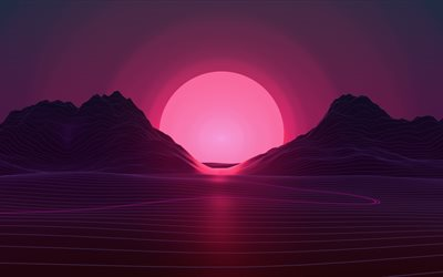 sunset, 4k, pink sun, abstract landscape, neon lights, art, creative