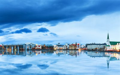 4k, Reykjavik, river, evening, Iceland, Europe