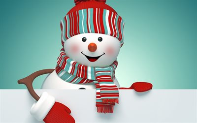 snowman, creative, winter, 3d art, Christmas, Xmas