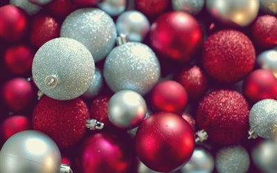 Red Christmas balls, decoration, 2018, New Year, Christmas