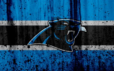 4k, Carolina Panthers, grunge, NFL, american football, NFC, logo, USA, art, stone texture, South Division