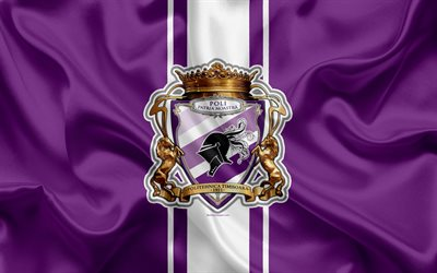 FC Politehnica Timisoara, 4k, Romanian football club, logo, silk flag, Romanian Liga 1, Timisoara, Romania, football