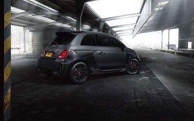 4k, Fiat 500 Abarth, tuning, 2017 cars, parking, compact cars, Fiat