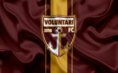 FC Voluntari, 4k, Romanian football club, logo, silk flag, Romanian Liga 1, Voluntari, Romania, football