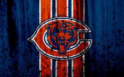 4k, Chicago Bears, grunge, NFL, american football, NFC, logo, USA, art, stone texture, North Division