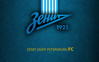 FC Zenit, Saint Petersburg, 4K, logo, Russian football club, leather texture, Russian Premier League, football, Russia