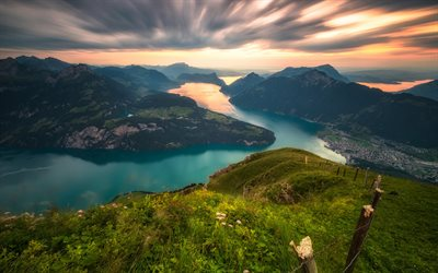 Lake Lucerne, mountains, sunset, Alps, Switzerland, Europe, Swiss Alps
