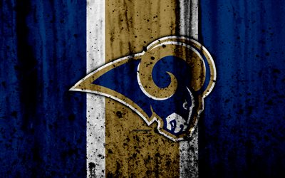 4k, Los Angeles Rams, grunge, NFL, american football, NFC, logo, USA, art, stone texture, West Division