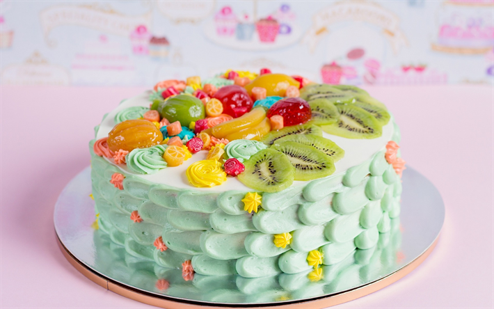 Stupendous Download Wallpapers Happy Birthday Cake Sweets Pastries Fruit Personalised Birthday Cards Veneteletsinfo
