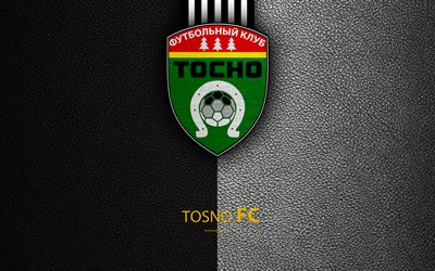 FC Tosno, 4k, logo, Russian football club, leather texture, Russian Premier League, football, Tosno, Russia