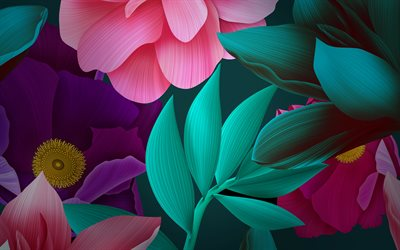 colorful flowers, 3d art, creative, huawei, flowers