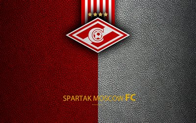 FC Spartak Moscow, 4k, logo, Russian football club, leather texture, Russian Premier League, football, Moscow, Russia
