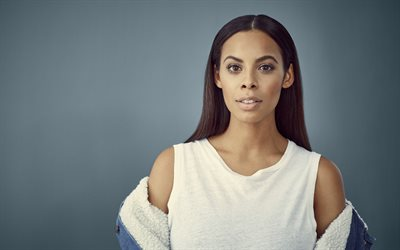 Rochelle Humes, 4k, British singer, portrait, white dress, make-up, photo session, beautiful woman, British celebrities